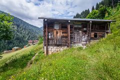 Landscape view of Ayder Plateau in Rize,Turkey. Ayder Valley is popular destination for summer tourism Royalty Free Stock Images