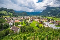 Landscape view on Balzers village in Liechtenstein. At a cloudy day Royalty Free Stock Image