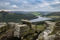 Landscape view from Bamford Edge in Peak District towards Ladybo. Wer Reservoir and Win Hill Royalty Free Stock Images