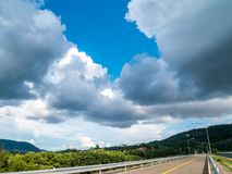 Landscape view of Bang Ward Dam, Phuket, Thailand. White fluffy stock photography
