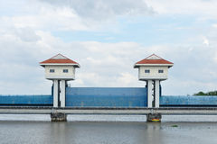 Landscape view, barrage towers in Thailand. Royalty Free Stock Photography