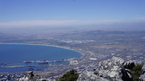Landscape, view of the bay and Cape Town  from the mountain. Landscape, view of the bay and Cape Town  from the Table mountain Royalty Free Stock Photos