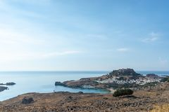 Landscape view of beautiful bay of Lindos royalty free stock image