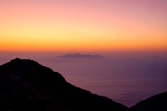 Landscape view of beautiful colorful sunrise above the ocean Stock Photo