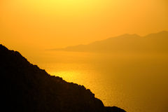 Landscape view of beautiful colorful sunrise above the ocean isl Royalty Free Stock Photos