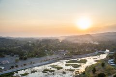 Landscape View is Beautiful Khun Dan Prakan Chon Dam, Nakhon Nayok, Thailand royalty free stock photography