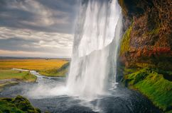 Landscape view of beautiful Seljalandsfoss waterfall in Iceland stock photos