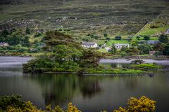 Landscape view of blue lake and island with trees in the middle. Small village in the background. Ireland stock images