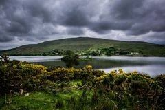 Landscape view of blue lake and small village bellow mountain.Green grass and yellow flowers in front. Ireland. royalty free stock images