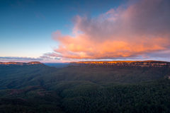 Landscape view of Blue Mountains national park Stock Images
