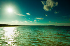 Landscape. View of blue sky at sea or ocean water. Stock Photos