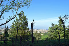 Landscape view in Bologna, Italy. Beautiful view of landscape near the the Sanctuary of the Madonna of San Luca, basilica church in Bologna, northern Italy Royalty Free Stock Image