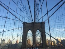 Landscape view across Brooklyn bridge Stock Images