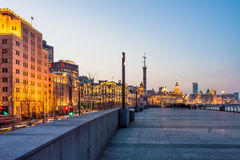 Landscape view at the Bund in the evening. Royalty Free Stock Photos