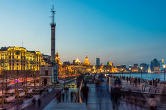 Landscape view at the Bund in the evening. The Bund is a waterfront area in central Shanghai Stock Photography