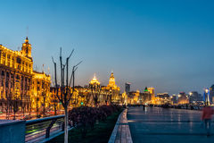 Landscape view at the Bund in the evening Royalty Free Stock Photo