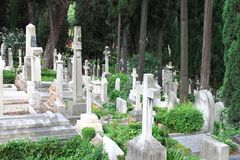 Burying ground. Landscape view of a burying ground royalty free stock image