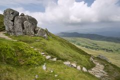 Landscape view from Cadair Idris looking North towards Dolgellau Royalty Free Stock Photo