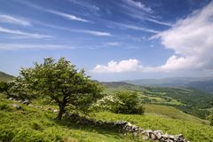 Landscape view from Cadair Idris looking North towards Dolgellau. Over fields and countryside Royalty Free Stock Image