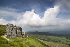 Landscape view from Cadair Idris looking North towards Dolgellau. Over fields and countryside Stock Images
