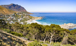 Landscape view of the Cape Peninsula mountains and the Atlantic Ocean from Llandudno on the Cape Peninsula, South Africa Royalty Free Stock Images