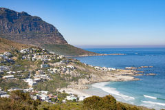Landscape view of the Cape Peninsula mountains and the Atlantic Ocean from Llandudno on the Cape Peninsula, South Africa Stock Image