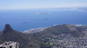 Landscape, view of Cape Town and the Atlantic Ocean from the mountain. Island in the ocean Stock Images