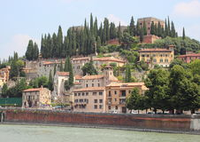 Landscape view of castle at river in Verona Royalty Free Stock Photo