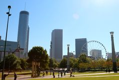 Landscape view of Centennial Olympic park in Atlanta Georgia Stock Photography