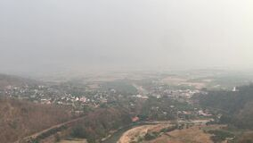 Landscape view of Chiang Mai city that showing smog and polluted air pollution from particle PM2.5