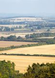 Landscape view of the Chilterns, England. Beautiful view across a harvested landscape in autumn of the Chilterns, England Stock Photo
