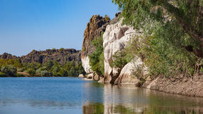 Landscape view of cliffs in Geikie Gorge, Fitzroy Crossing, Western Australia. Landscape view of Devonian sandstone  cliffs in Geikie Gorge, Fitzroy Crossing Stock Photos