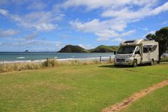 Motorhome on campsite at Port Jackson royalty free stock image