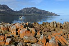 Landscape view of Coles Bay Tasmania Australia royalty free stock photo