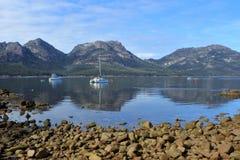 Landscape view of Coles Bay Tasmania Australia royalty free stock photography
