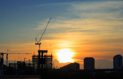 Landscape view of construction site in the evening Royalty Free Stock Photo