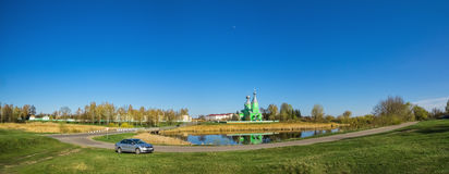 Landscape view of the countryside from the temple in the village Stock Photography