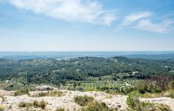 Landscape view from Chateau des Baux-de-provence Stock Photos