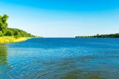 Landscape view with dead Vistula Polish: Martwa Wisla from ferry to Sobieszewo Island. Royalty Free Stock Image