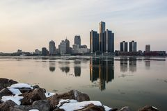 Landscape view of the Detroit River in winter, February 2017. Landscape view of the Detroit River in February 2017 on a mild winter day Royalty Free Stock Photo