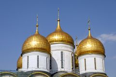Landscape with view on domes of the cathedrals of the Moscow Kremlin. stock photography