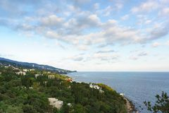 Landscape view at dusk from the observation deck to the resort village of Alupka in the Crimea. Yalta royalty free stock photography