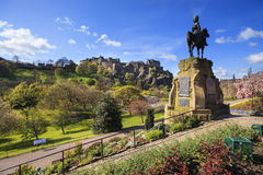 Landscape view of Edinburgh Castle and monument Stock Images