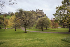 Landscape view of Edinburgh Castle and the park Royalty Free Stock Image