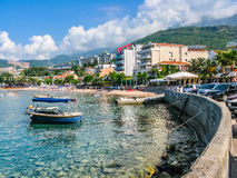 Landscape view on embankment in Montenegro Royalty Free Stock Photo