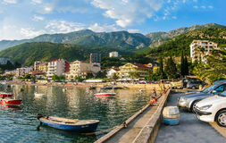 Landscape view on embankment in Montenegro Royalty Free Stock Photos