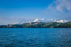Sun moon lake. A landscape view of the famous Sun Moon Lake in Taiwan royalty free stock images