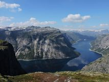 Fjords, lake and mountains stock photography