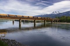 Freight Train Railway Bridge over Columbia River in Revelstoke BC Canada royalty free stock images