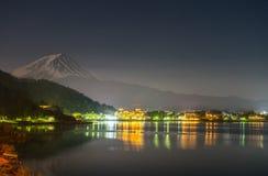 Fuji Mountain and Kawaguchiko lake at night from Yamanashi Prefecture, Japan. royalty free stock photos